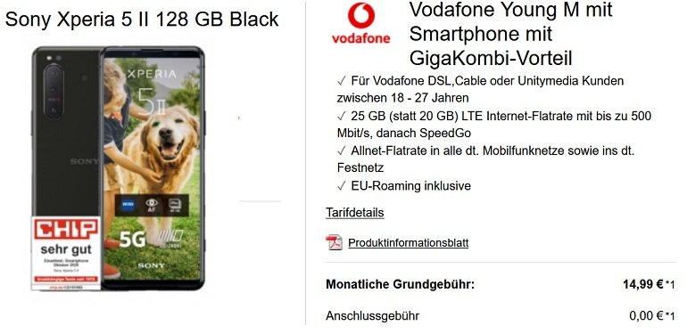Sony Xperia 5 II 128GB Vodafone Young M Allnet-Flat mit 25GB LTE