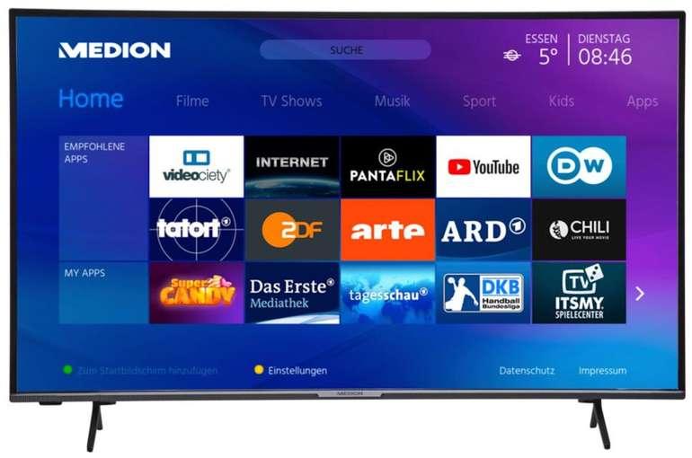 "Medion Life X15554 - 55"" Smart TV (4K UHD, Triple Tuner) für 379,99€ inkl. Versand (statt 444€)"