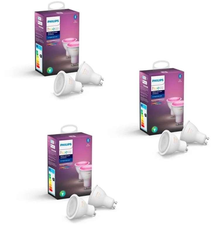 6er Pack Philips Hue GU10 White & Color Ambiance Bluetooth Leuchten für 189,90€ inkl. Versand (statt 219€)