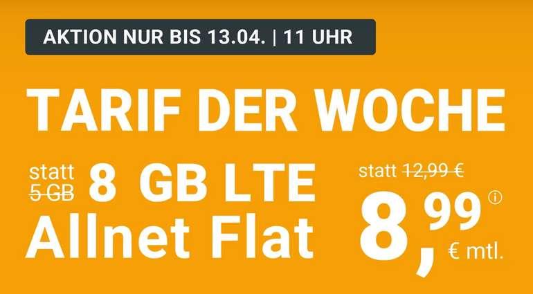 winSIM (8GB LTE, Allnet Flat) nur 8,99€ (!) mtl. (3GB für 7,99€ und 20GB nur 19,99€)