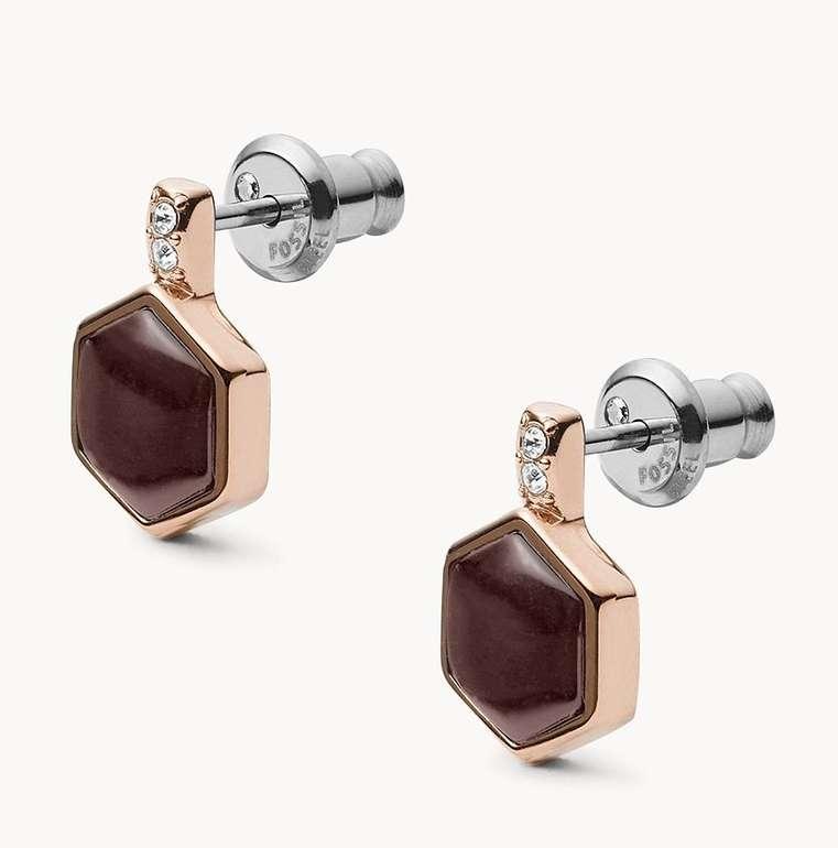 """Fossil Damen Ohrringe """"Hexagon Rose Gold-Tone"""" (JF03059791) für 18€ inkl. Versand (statt 26€)"""