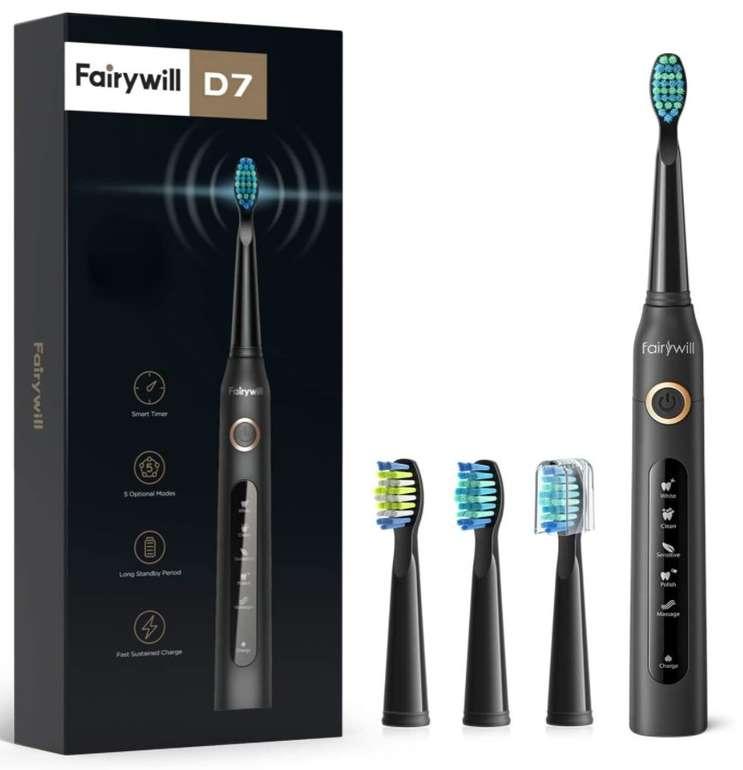 Fairywill D7 - Elektrische Zahnbürste (5 Modi, 2 Minuten Timer, 3 Aufsteckbürsten) für 13,68€ inkl. Prime Versand