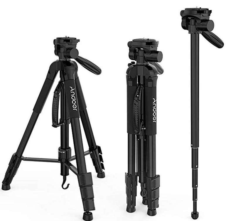 Andoer - Professionelles 176cm Fotokamera Stativ + Tragetasche für 18,49€ (statt 37€)
