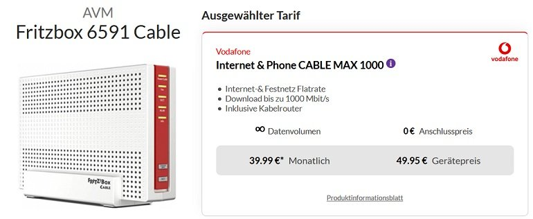 AVM FRITZ!Box 6591 Cable Vodafone CableMax