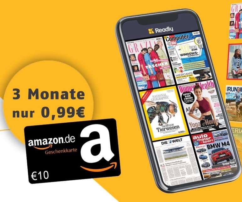 3 Monate Readly Magazin-Flat für einmalig 0,99€ + 10€ Amazon.de Gutschein
