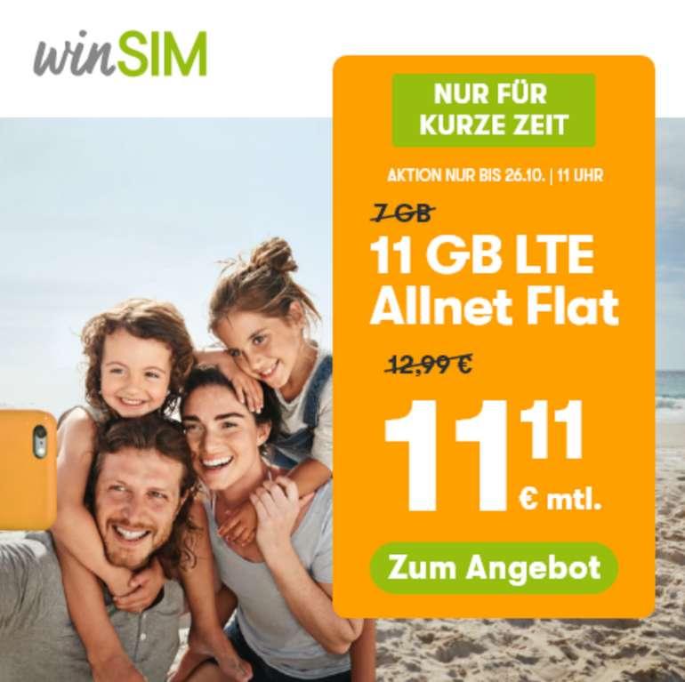 Top! winSIM (11 GB LTE, Allnet Flat) nur 11,11€ (!) mtl. (2 GB für 4,99€, 10GB nur 9,99€ und 20GB für 19,99€ mtl.)