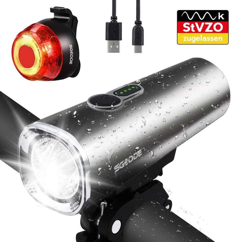 Sgodde LED Fahrradlicht Set mit USB-Aufladung für 21,69€ inkl. Versand