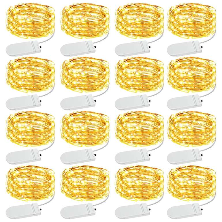 Olafus 16er Pack wasserdichte Drahtlichterketten (20 LEDs, 3000K) für 9,99€ inkl. Prime Versand