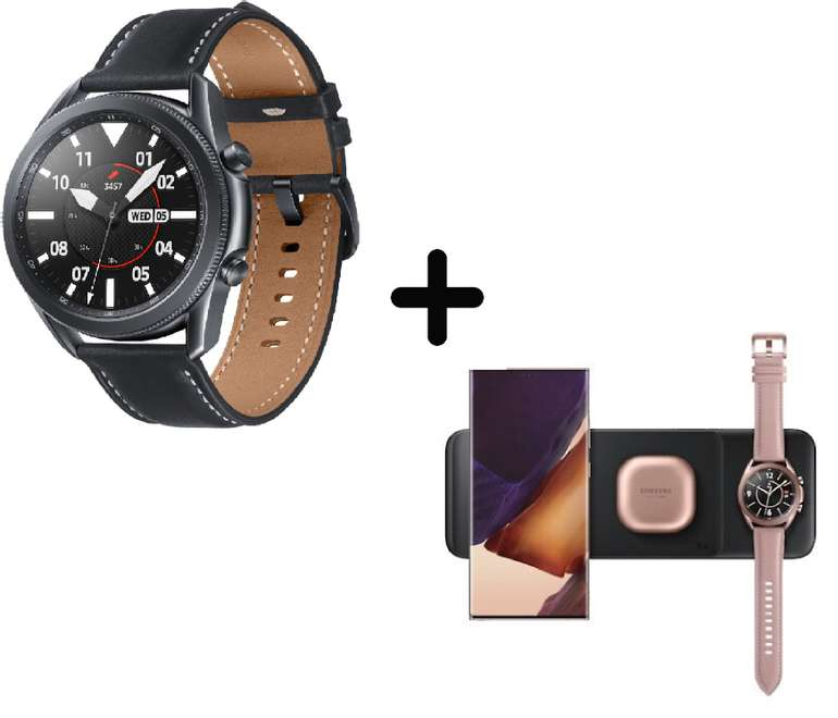 """Samsung Galaxy Watch 3 (45mm, Bluetooth, Mystic Black) + Samsung """"Trio EP-P6300"""" Ladestation für 299,86€ inkl. Versand (statt 374€)"""