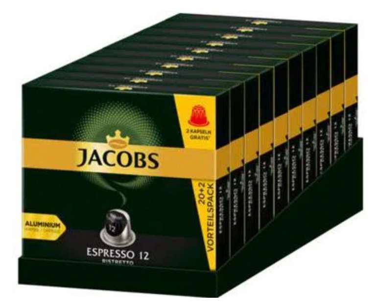 220 Kapseln Jacobs Espresso Ristretto (Nespresso kompatible Kaffeekapseln) für 34,90€ (statt 40€)