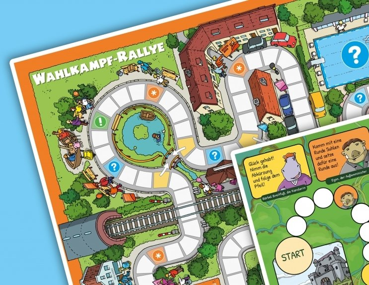 "BPB: Brettspiel-Plakat ""Wahlkampf-Rallye"" bzw. ""Wahltagrennen"" kostenlos bestellen"