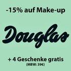 Douglas -15% auf Make-up + 4 Geschenke gratis (MBW: 39€)