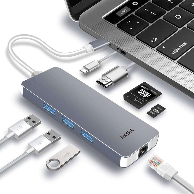 Hot! EKSA 8-in-1 USB-C Aluminium Hub mit 4K HDMI & RJ45 Gigabit Ethernet für 12€ inkl. VSK