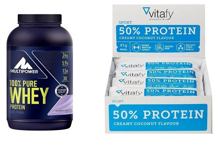 900g Pure Whey 100% Protein + Vitafy Essentials Riegel (12x45g) für 28,09€
