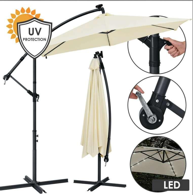 Juskys® Ampelschirm Sonnenschirm + LED Kurbelschirm (Ø300cm - 350cm) ab 69,95€inkl. Versand (statt 80€)