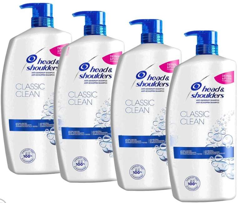 4x 900ml Head & Shoulders Classic Clean Anti-Schuppen Shampoo für 25,90€ (statt 31€)