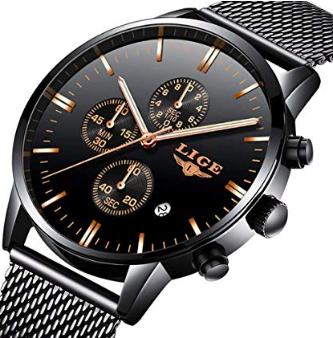 Lige Herren Sport Armbanduhr (Edelstahl Armband, wasserdicht) für 20,92€