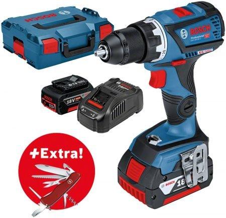 Bosch GSR 18V-60 C Professional + 2x 5,0Ah + Ladegerät + L-BOXX + Messer zu 249€