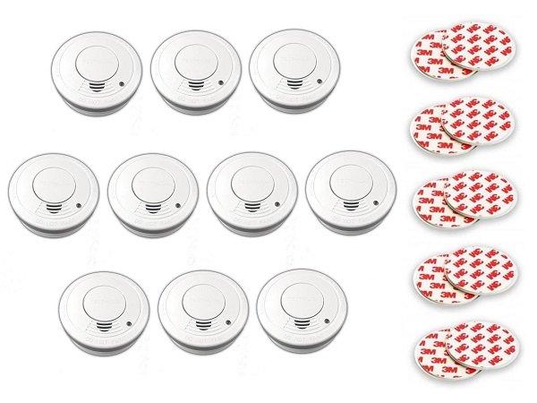 10er-Pack Xeltys Rauchwarnmelder inkl. Batterien + Magnethalter für 19,99€