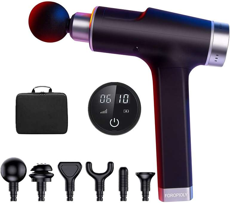 Foropioly Massagepistole (6 Geschwindigkeiten & Massageköpfe) für 37,40€ inkl. Versand (statt 79€)