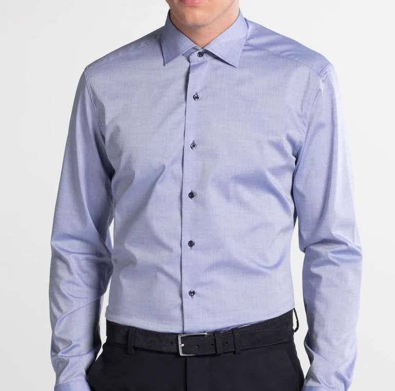 Eterna: 50% Rabatt auf 5 Herren Hemden - z.B. Langarm Slim Fit Stretch in Blau für 24,97€