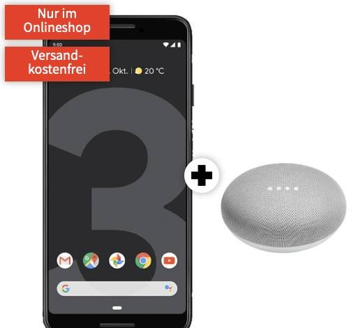 o2 Free M (10GB LTE) + Google Pixel 3 64GB und Google Home Mini für 29,99€ mtl.