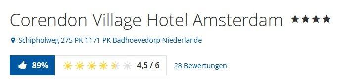 Amsterdam 1 Nacht im top 4 Hotel Corendon Village inkl. Frühstück & Spa 4
