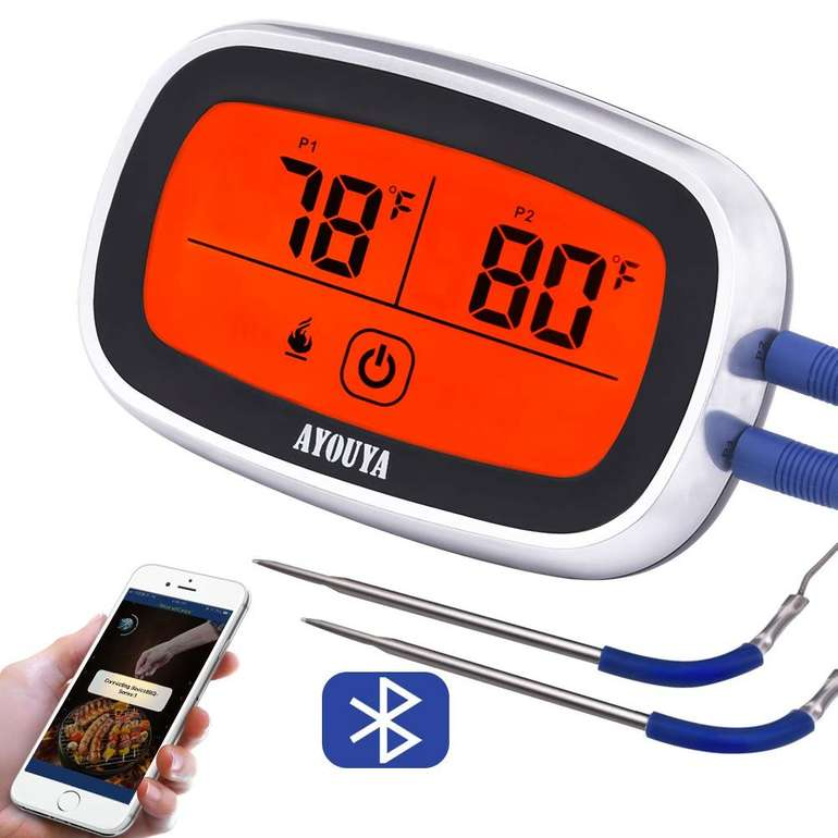Ayouya digitales Fleischthermometer (Bluetooth 4.0, App) für 6,99€ inkl. Prime Versand