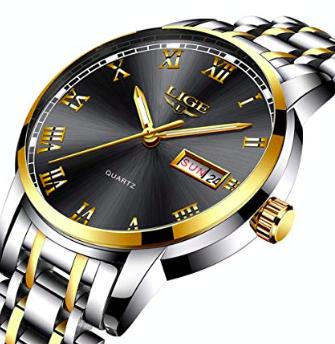 Lige Strap Gold Herren Armbanduhr (wasserdicht) ab 16,79€ inkl Prime (statt 28€)