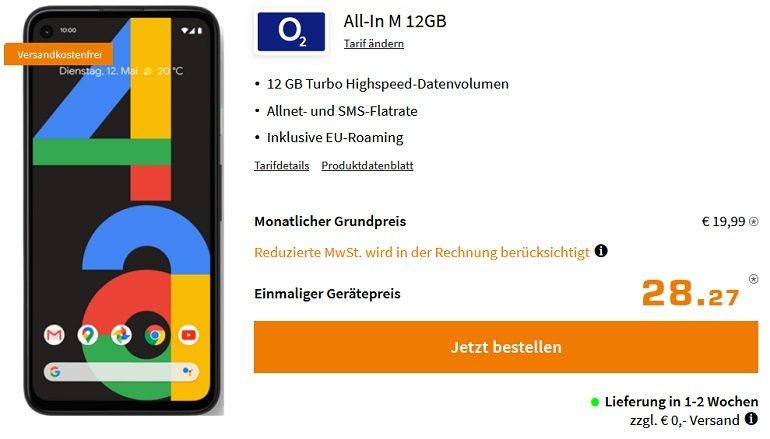 Google Pixel 4a o2 All-In M Allnet-Flat mit 12GB LTE
