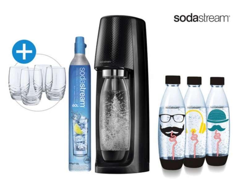 SodaStream Spirit Wassersprudler + 3 Flaschen + 4 Gläser + CO2 für 65,90€