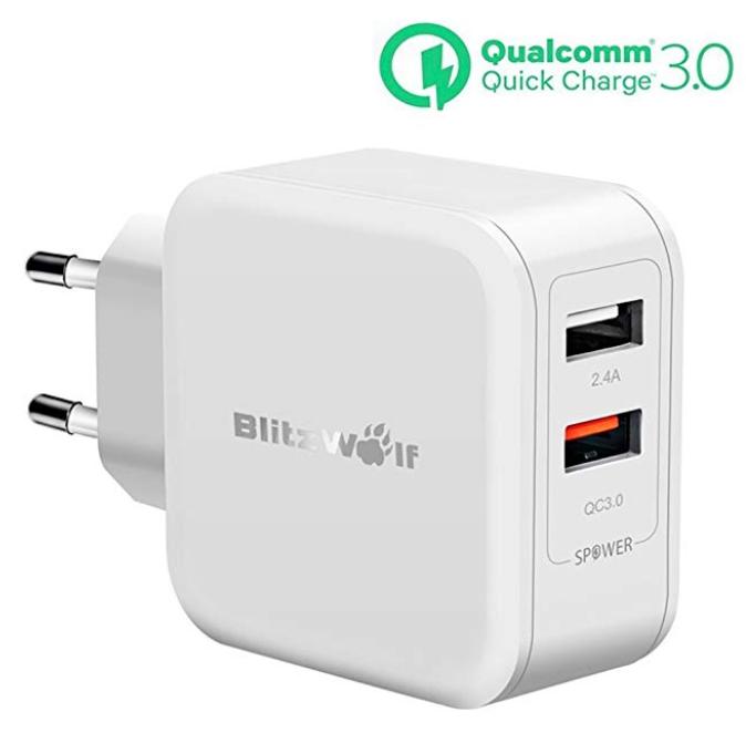 BlitzWolf USB-Ladegerät mit Quick Charge 3.0 und 2 USB-Ports für 10,39€ (Prime)