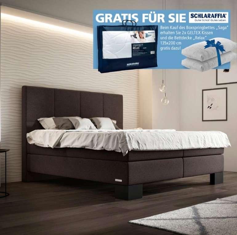 Schlaraffia Boxspringbett Saga (180x200) in Anthrazit mit 2x Geltex Kissen und Relax-Decke für 1.490,43€