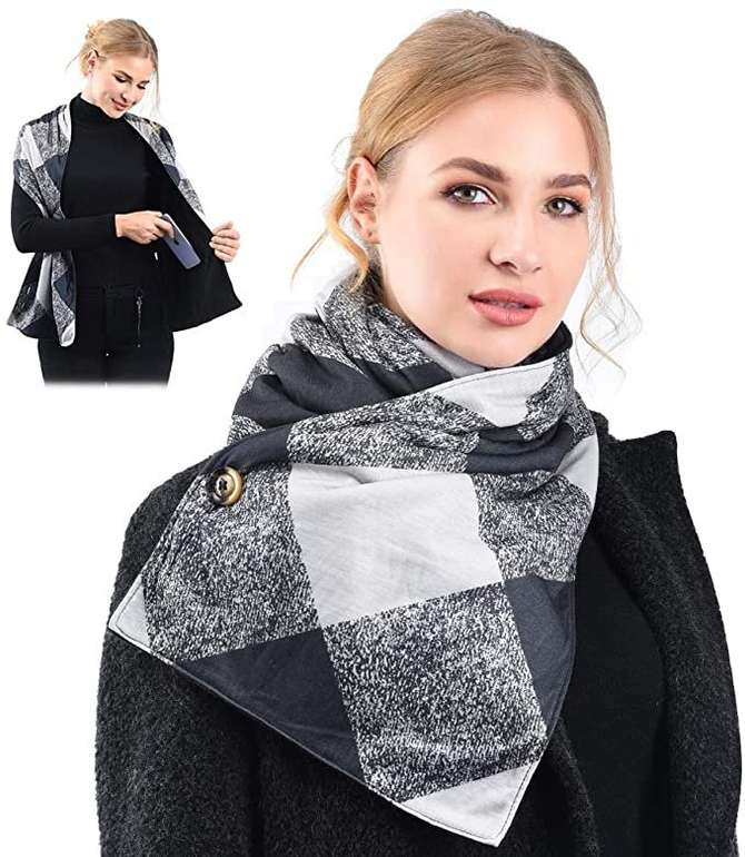Vbiger Damen Schal mit Reißverschlusstaschen in 4 Farben für je 4,50€ inkl. Prime Versand (statt 15€)