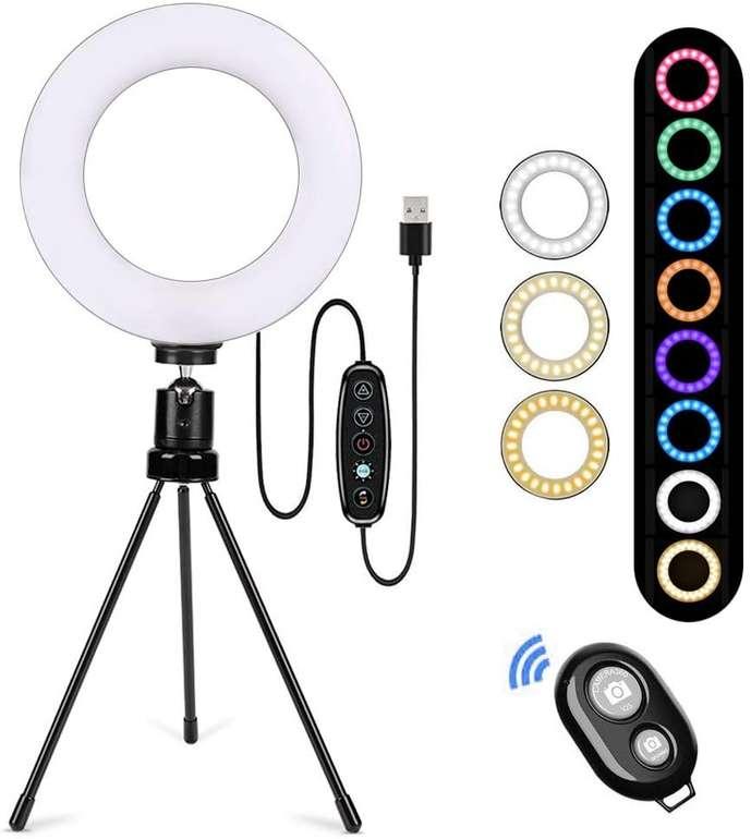 """Bloomwin 6"""" RGB Ringlicht mit Stativ & Fernbedienung für 13,99€ inkl. Prime Versand (statt 28€)"""