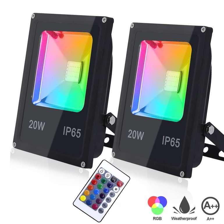 Verschiedene Hengda RGB Strahler mit Fernbedienung (2 Stück) z.B 20W für 19,44€