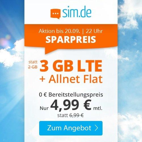 Sim.de: o2 Allnet-Flat mit 3GB LTE Datenvolumen (bis zu 50 MBit/s!) für 4,99€ mtl. (ohne Vertragslaufzeit)
