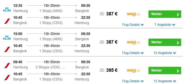 Hamburg nach Bangkok Flug
