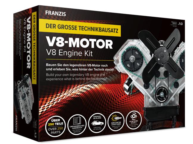 Franzis Der Grosse Technikbausatz: V8-Motor (250 Bauteile + Handbuch, Soundmodul mit V8-Sound, etc.) für 50,96€ (statt 80€)