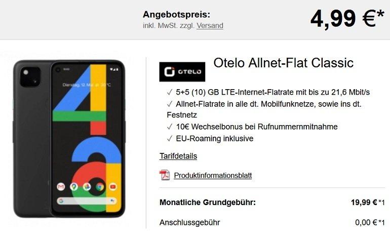 Google Pixel 4a Otelo Vodafone Allnet Flat Classic 10GB LTE
