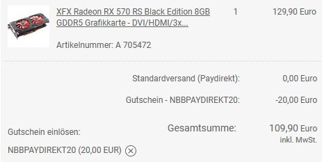 XFX Radeon RX 570 RS Black Edition 8GB GDDR5 Grafikkarte