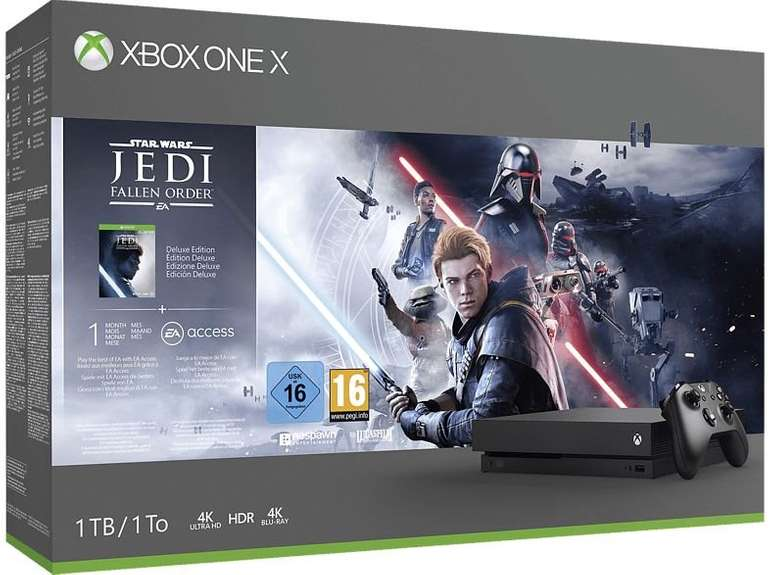 Schnell? Microsoft Xbox One X 1TB – Star Wars Jedi: Fallen Order + DOOM + GTA V + Redemption 2 für 289€