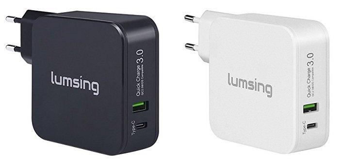 Lumsing Doppel-Port Quick Charge 3.0 und Typ-C Wandladegerät für 8,99€ + Kabel