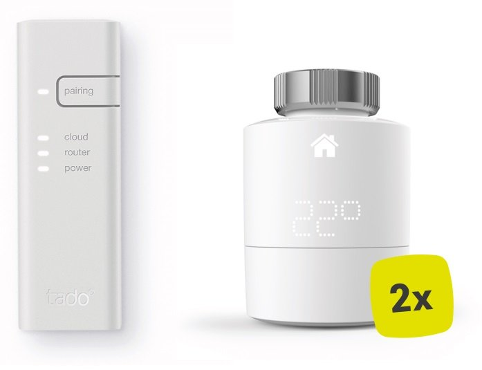 tado v3 Smartes Heizkörper-Thermostat Starter Set (2 Thermostate + Bridge) für 77,97€