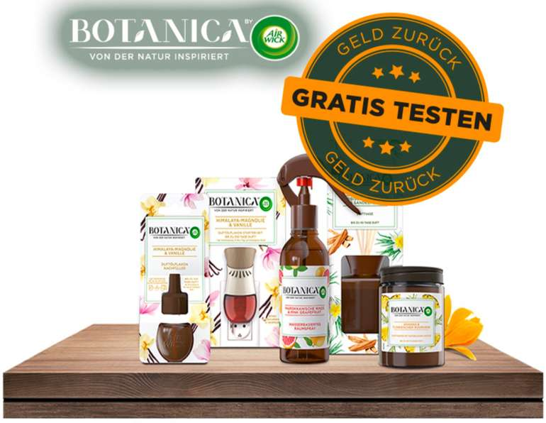 Botanica by Air Wick - 6 Produkte gratis testen durch Geld-zurück-Garantie (GzG)