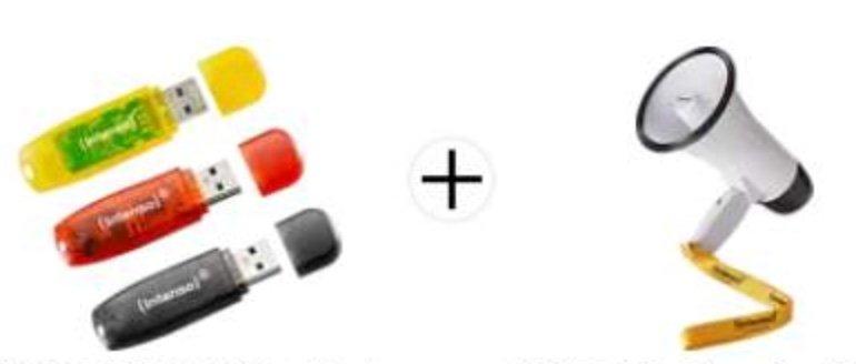 3er Pack Intenso Rainbow USB-Sticks mit je 16GB Speicher + Intenso Fan Megafon für 11€ (statt 14€)