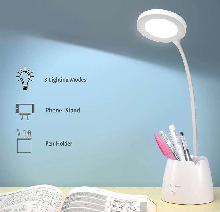 Grelae Schreibtischlampe für Kinder (3Lichtmodi, dimmbar & Stifthalter) für 8,60€ (statt 20€) - Prime!