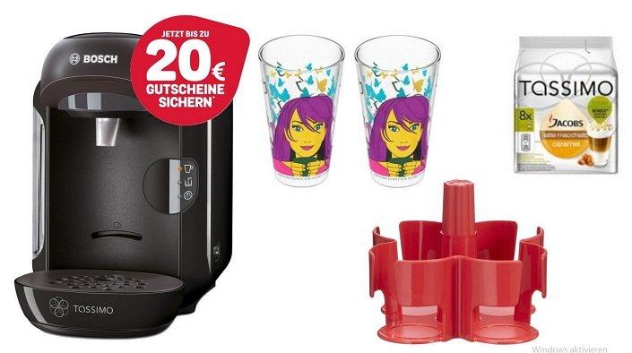Bosch TASSIMO VIVY + 20€ Gutschein + T Discs + Ritzenhoff Gläser für 39,99€
