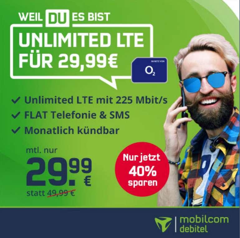 Bis 18 Uhr: o2 Free Unlimited Max Allnet-Flat mit 225 Mbit/s für 29,99€ mtl. (monatlich kündbar!)