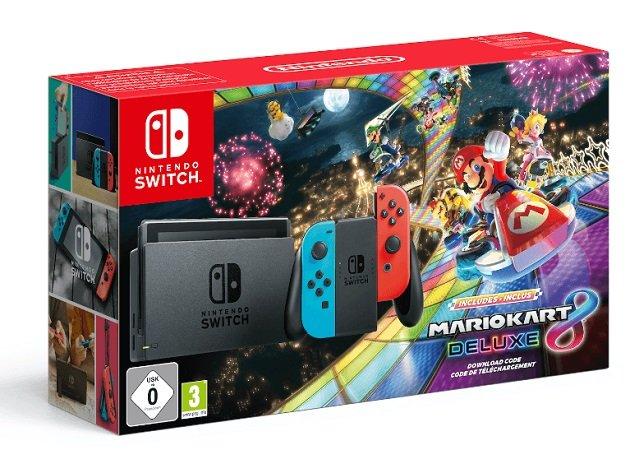 Nintendo Switch Konsole neon-rot/neon-blau + Mario Kart 8 Deluxe für 299€